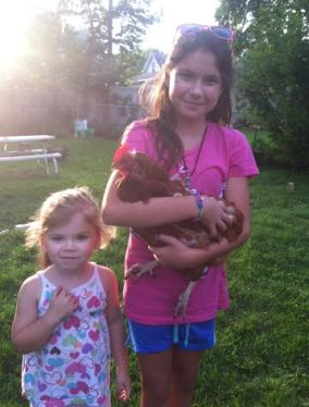 chickens with the girls