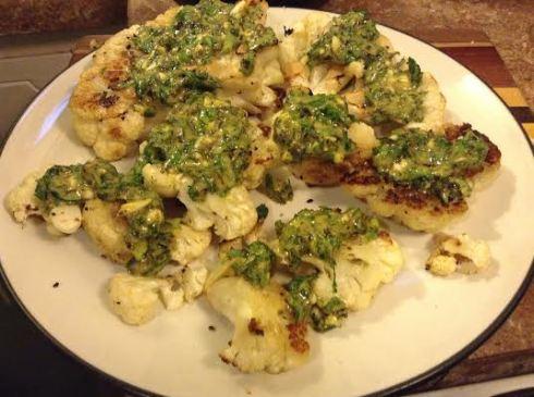cauliflower steak with salsa green