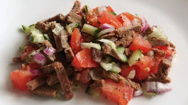 Leftover Bread Italian Salad