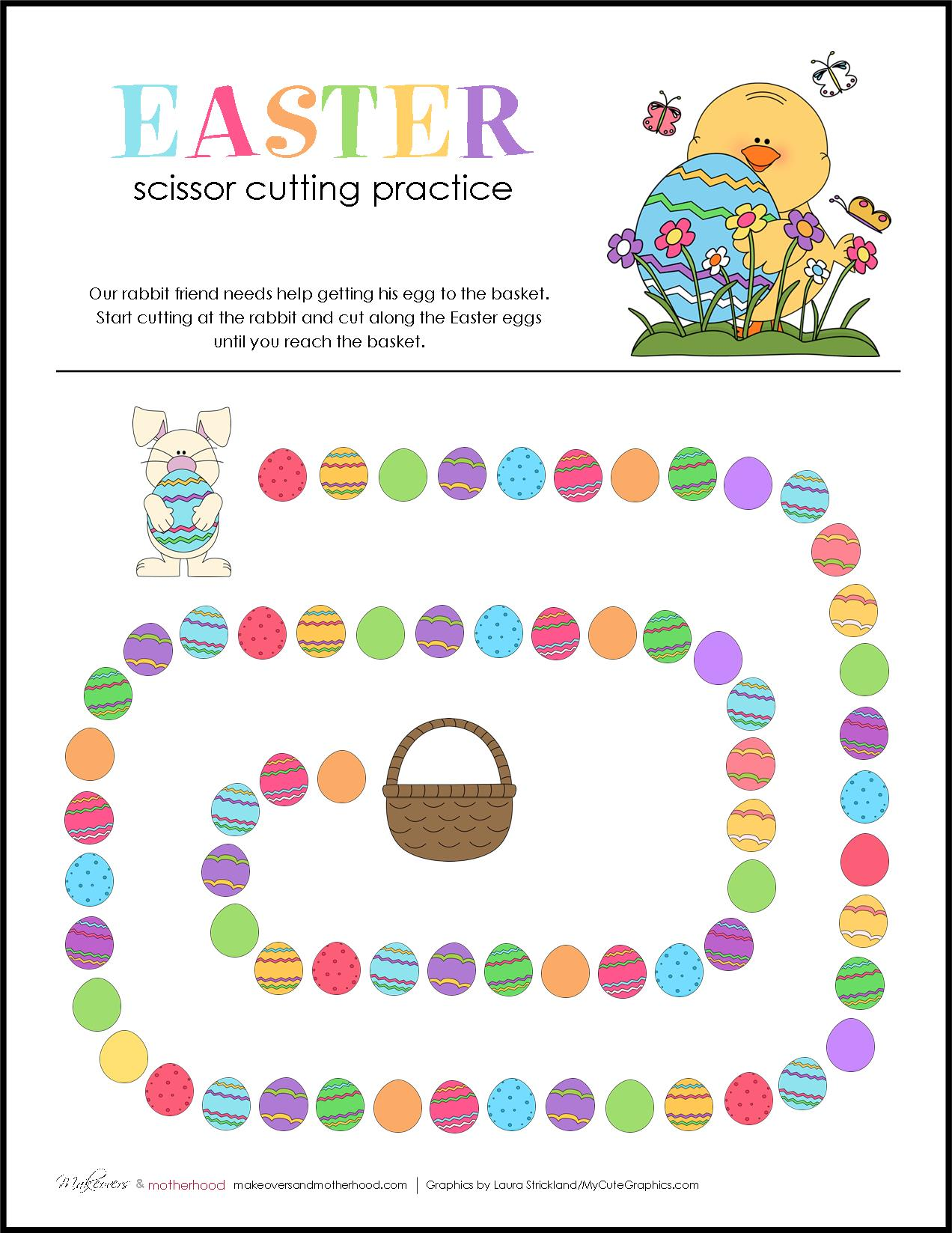 Easter Scissor Cutting Practice Sheets Printable