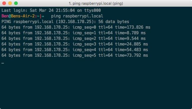 Raspberry Pi Netzwerk Ping test