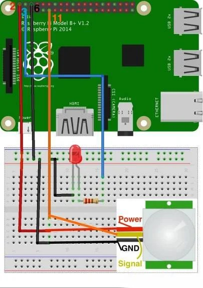 Led Ke Light Wiring Diagram How To Interface A Pir Motion Sensor With Raspberry Pi