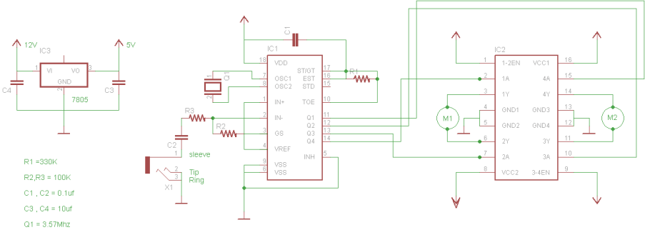 dtmf decoder ic mt8870 pin diagram viper 350 hv wiring how to build a cellphone controlled robot pcb maker pro step 1 connecting the circuit for mobile