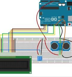 distance measurement using ultrasonic sensor and displaying on lcd arduino maker pro [ 1914 x 1668 Pixel ]