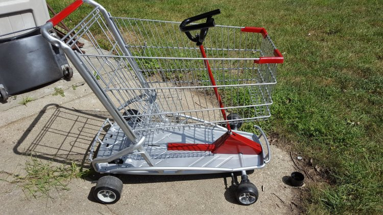 51645861734 Old kids ride on toy meets an old shopping cart. What does that get you?  The GO SHOPPING KART, this car was built for win place and show all at the  same ...
