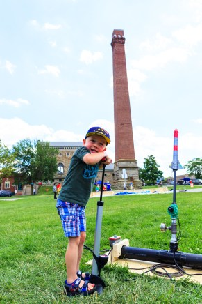 Rocket launches at Hamilton's first Maker Faire, held at Hamilton Steam and Technology Museum
