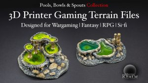 MysticRealms-3D Pools, Bowls & Spouts Scenery for Fantasy, Wargames & RPG