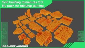 Printable scifi structures STL file pack for tabletop gaming
