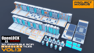 3D Printable SciFi OpenLOCK Compatible Tiles for Gaming Vol3