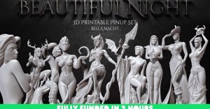 Beautiful Night - Gothic Pinup Set - STL Files for 3D Prints