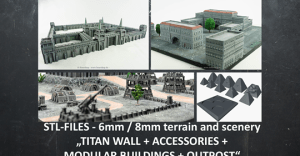 Support free STL 3D-printable 6mm-8mm scenery and terrain