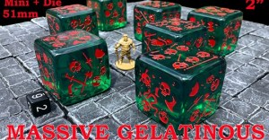 Massive Gelatinous Cube - 51mm Mini and Die - Six-Sided Dice