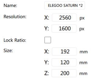 Elegoo Saturn Beta Settings