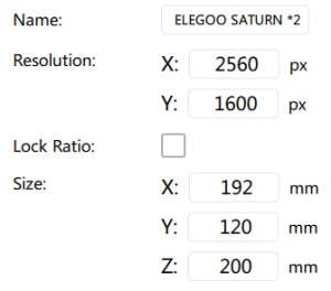 Elegoo Saturn Beta Settings