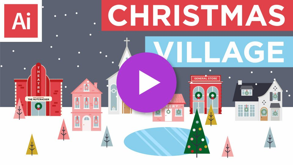 Learn Adobe Illustrator by illustrating a Christmas Village with me