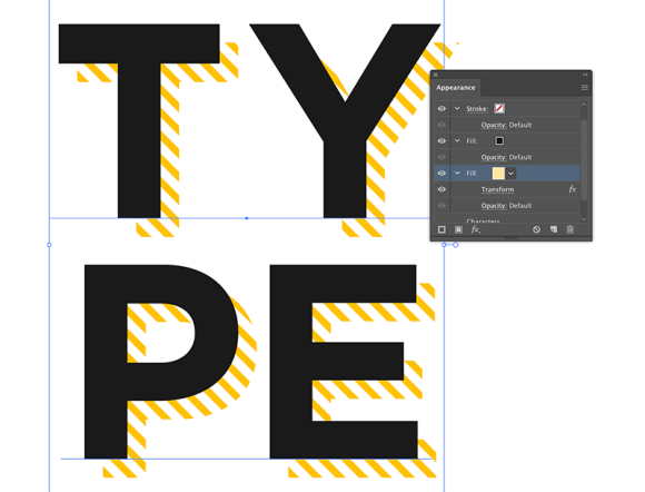finished hatch drop shadow text effect in illustrator