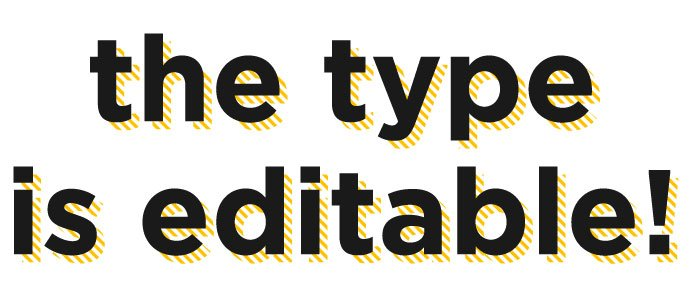 hatch mark drop shadow text effect adobe illustrator with editable type edit