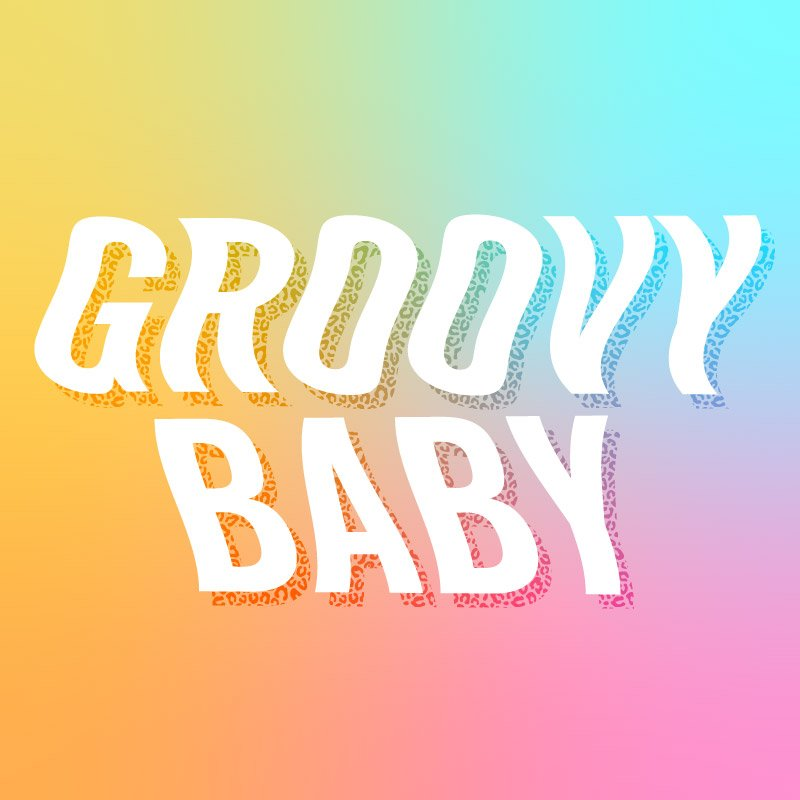 groovy baby wavy text