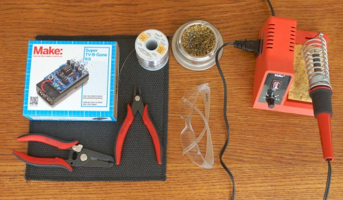 My selection of tools needed for the TV-B-Gone build.