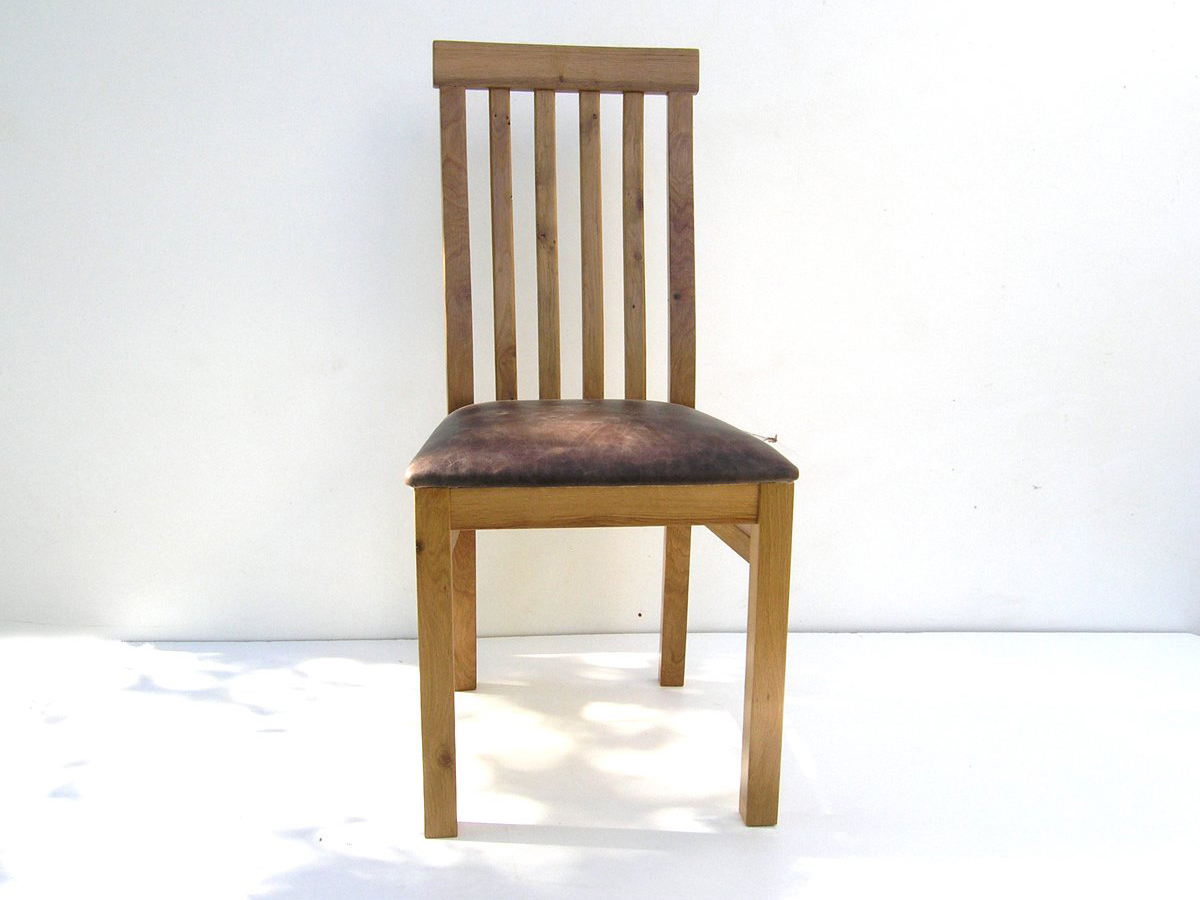 Bespoke Dining Chair with Leather Seat  Handmade Oak