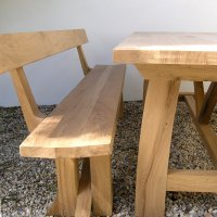 Oak Zen Dining Bench with Back   Bespoke Bench with Back