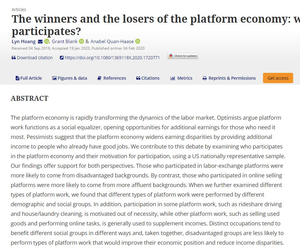 Screen shot of article published by Anabel Quan-Haase