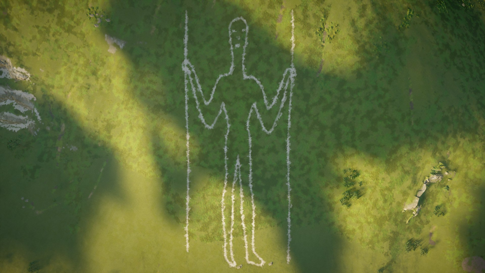 Aerial shot of the Long Man of Wilmington in East Sussex. Flat Space using Frontal Planes (Block, 43-44)