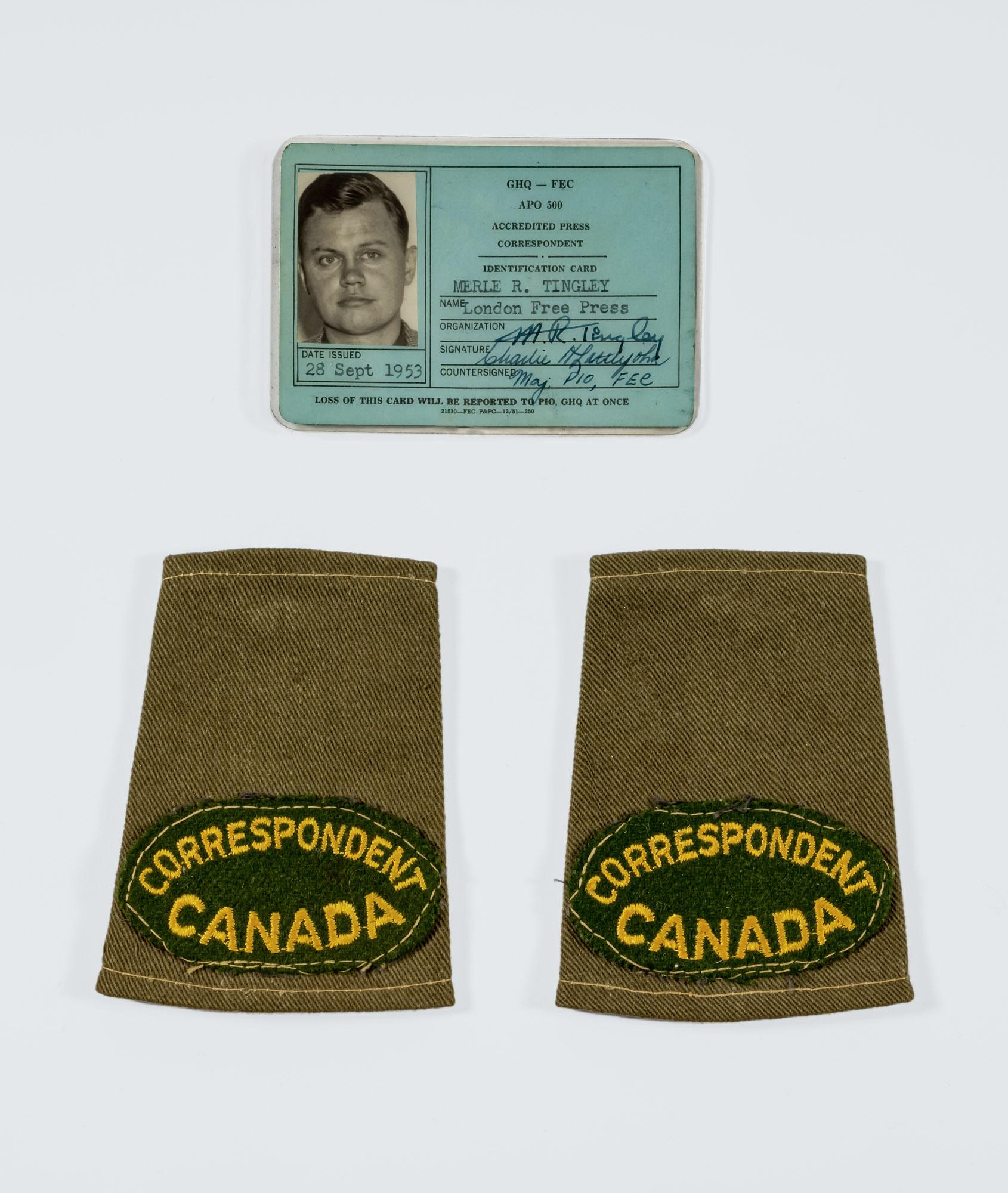 Merle Tingley's Korean War Press Card and Epaulettes