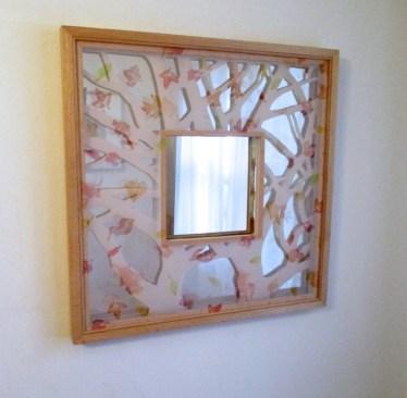 "Autumn Clearing Mirror 25.5""x25.5"" wood, mdf board, gold leaf, silk, acrylic paint, glass mirror $250"