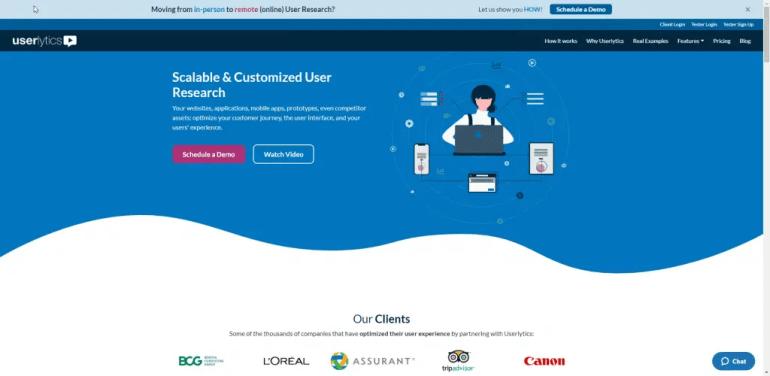 A screenshot of the Userlytics homepage.