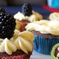 Blackberry Chocolate Cupcakes with Vanilla Icing
