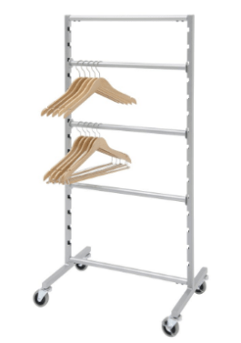 Metal rolling rack with four horizontal display bars holding wood hangers