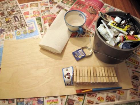 materials for DIY Sock Station