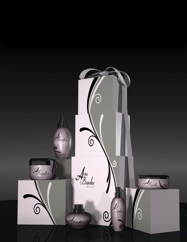 Ava Banks skincare line 3D render