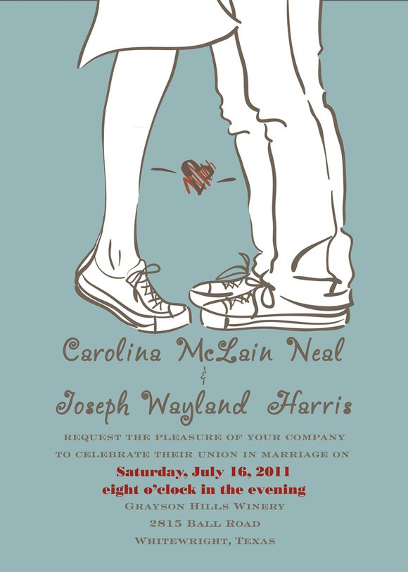chartoon-like wedding invitation