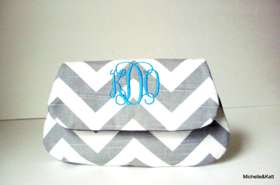 monogramed clutch
