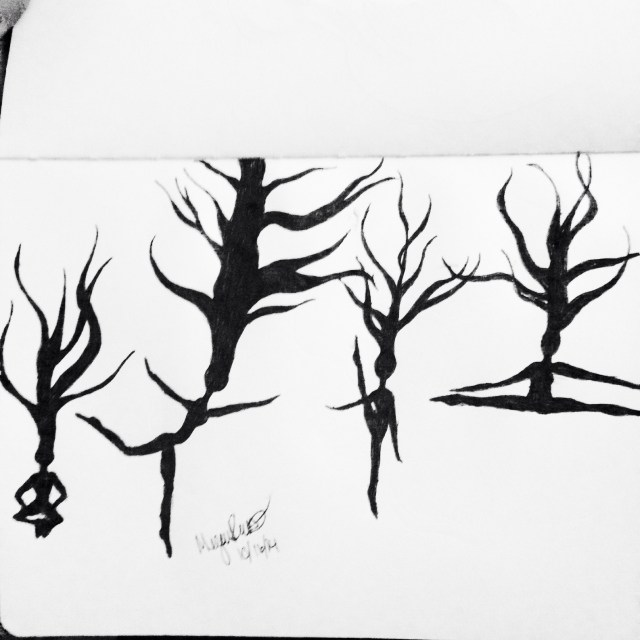 Dancing trees ink drawing