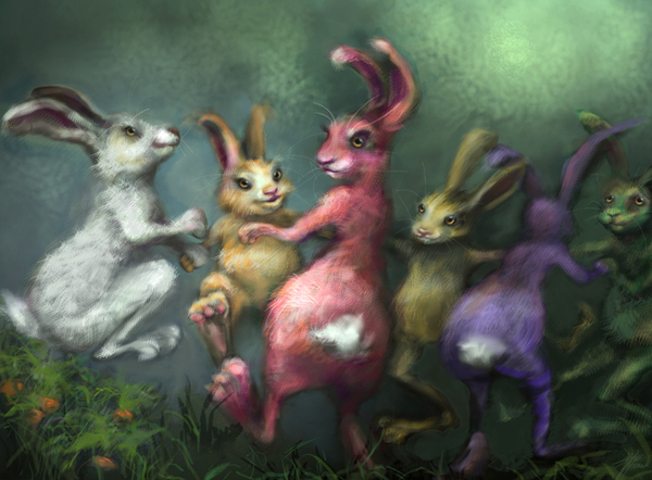 Elena Caravela: rabbits dancing painting