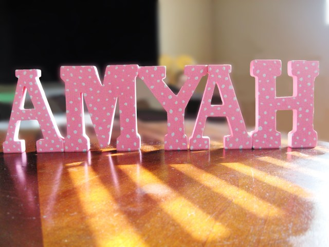 DIY baby name letter decor