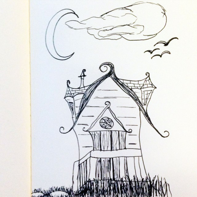 creepy house drawing inktober