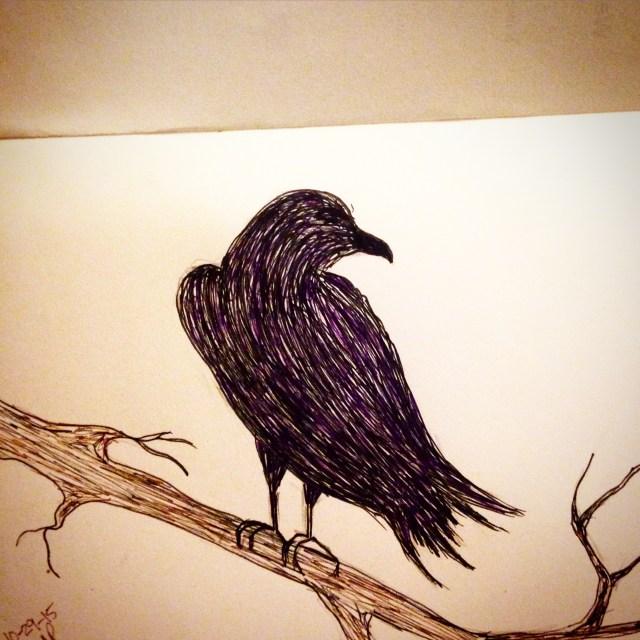 crow in tree inktober sketch