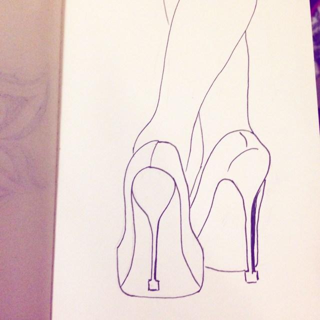 high heels drawing inktober