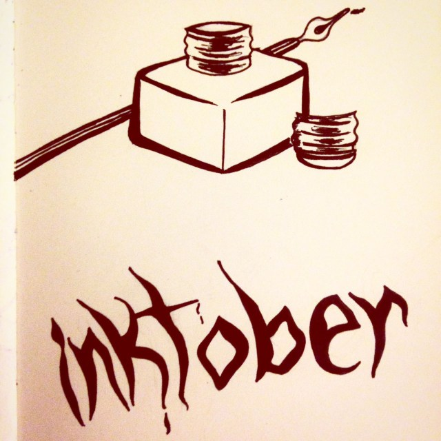 ink bottle drawing inktober