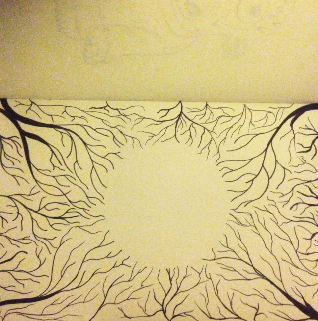 tree moon drawing inktober