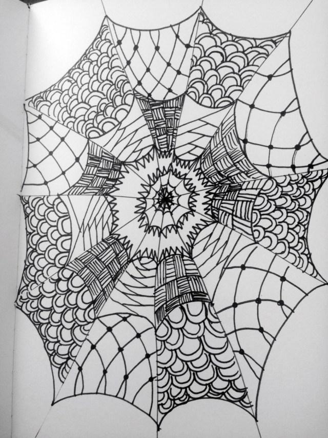 zentangle spider web inktober