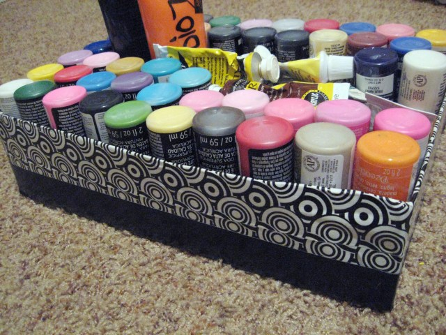 cardboard box paint storage