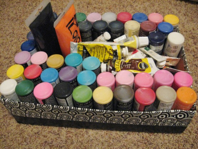 upcycled box paint storage