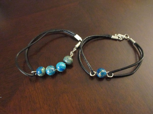 beaded bracelets with leather straps