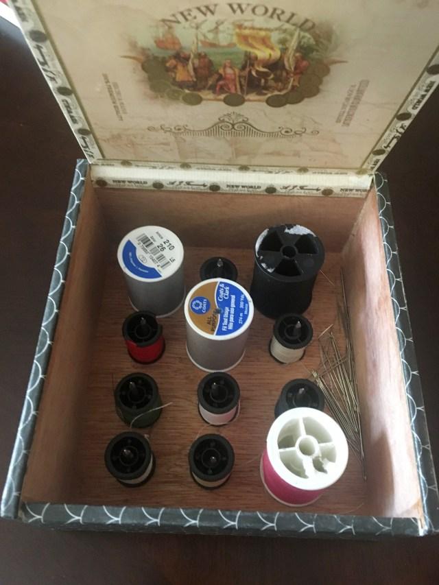 diy sewing box made from a cigar box
