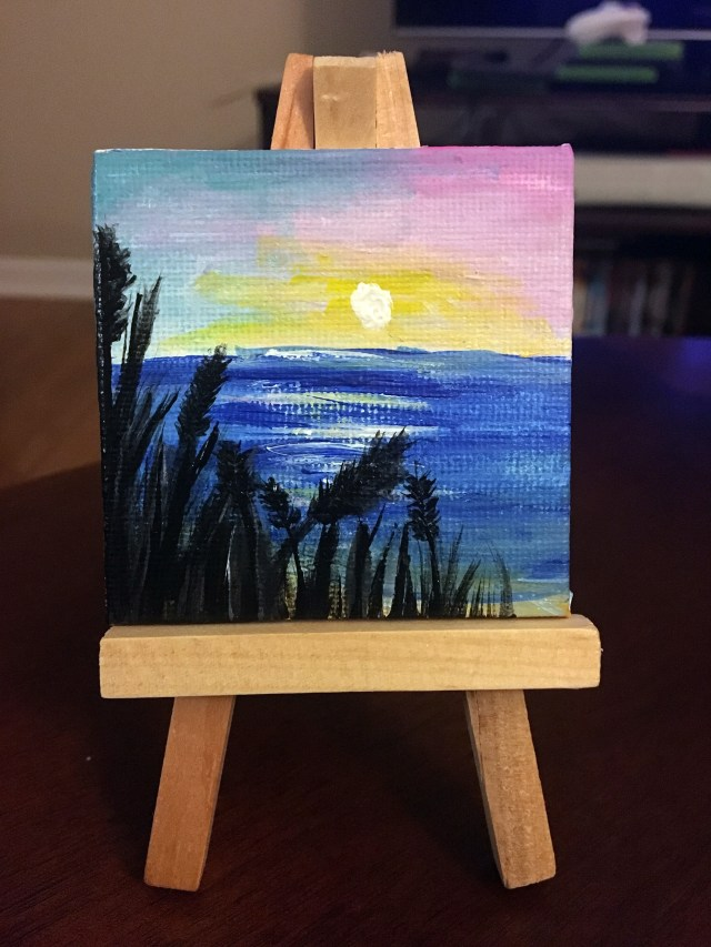 mini beach sunset painting diy